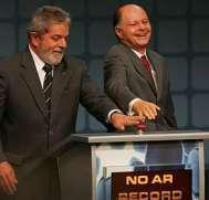 Edir Macedo, com Lula, no lançamento da Record News